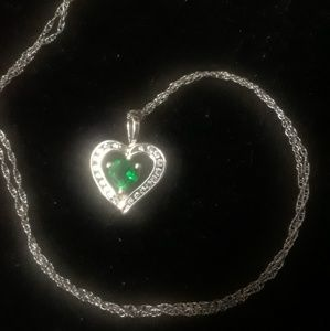 Jewelry - Lab created emerald heart necklace